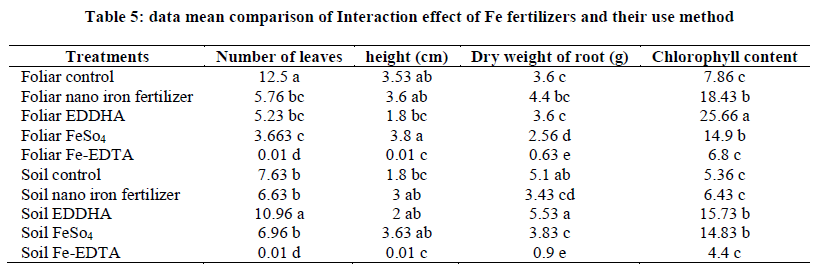 Effect of application of iron fertilizers in two methods 'foliar and